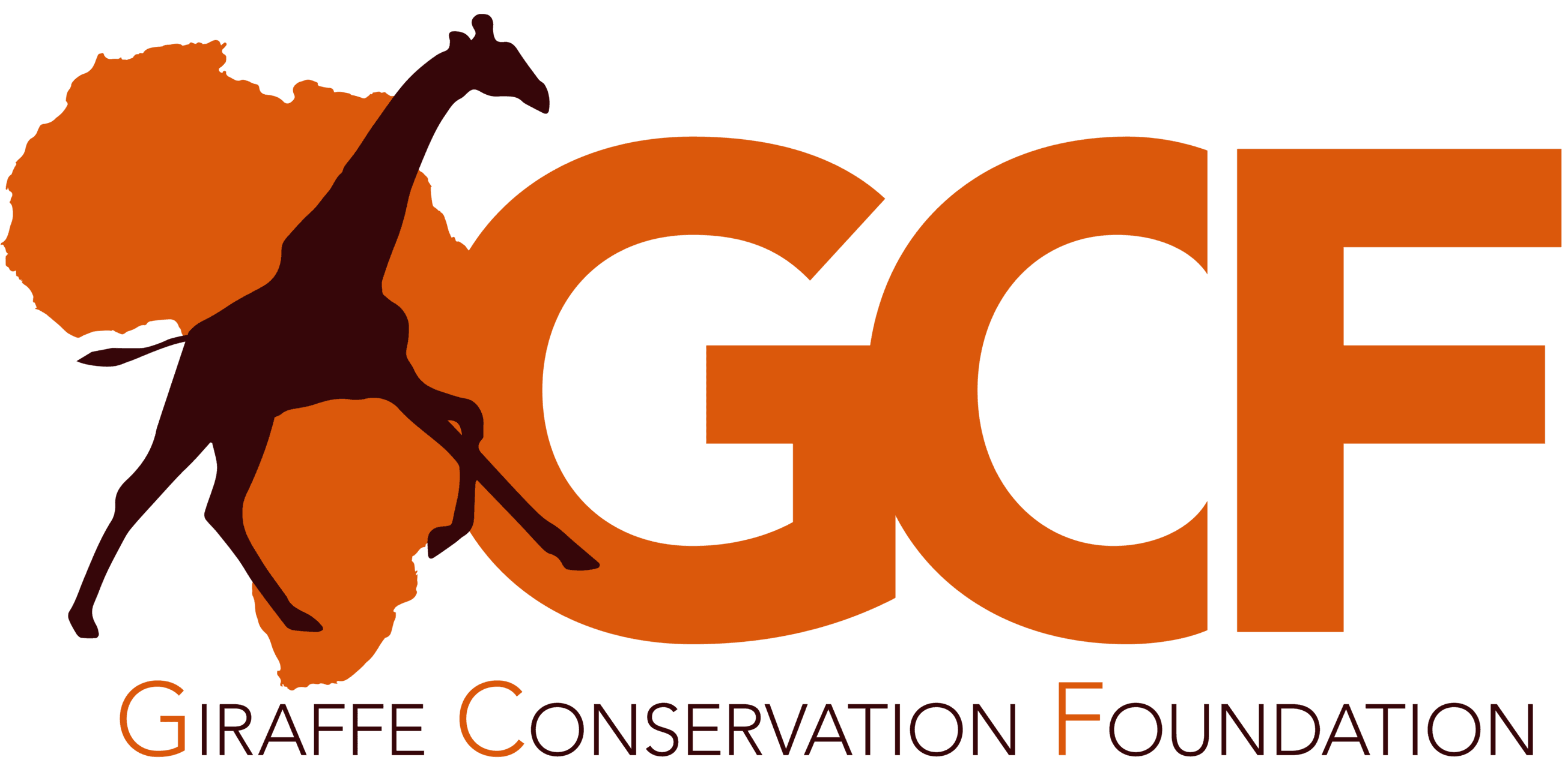 "Large Letters ""GCF"" in orange with a silhouette of a Giraffe."