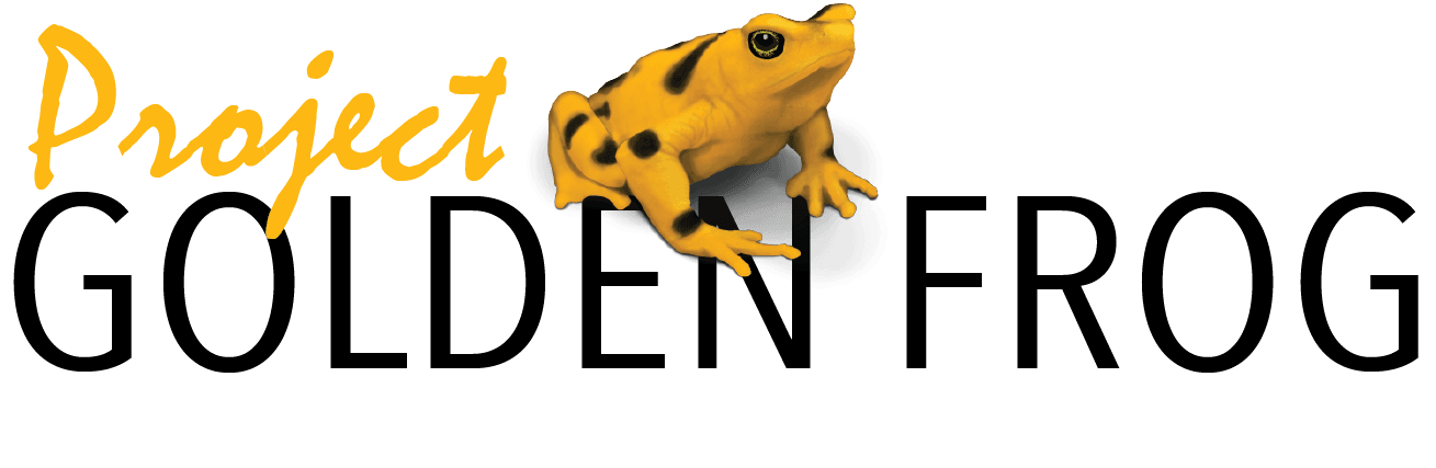 Text: Project Golden Frog Image: Panamanian Golden Frog